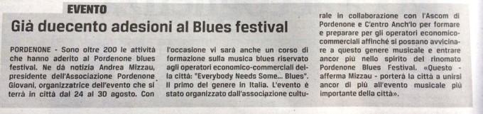 """Articolo """"Già duecento adesioni al Blues Festival"""""""