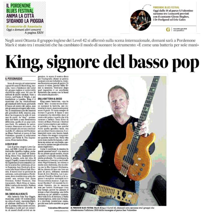Mark King - Il Gazzettino